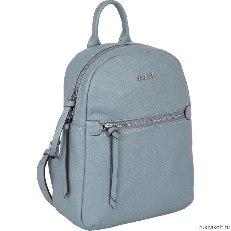 5b1c4ede1f21 Женский кожаный рюкзак Pola 69051 голубой
