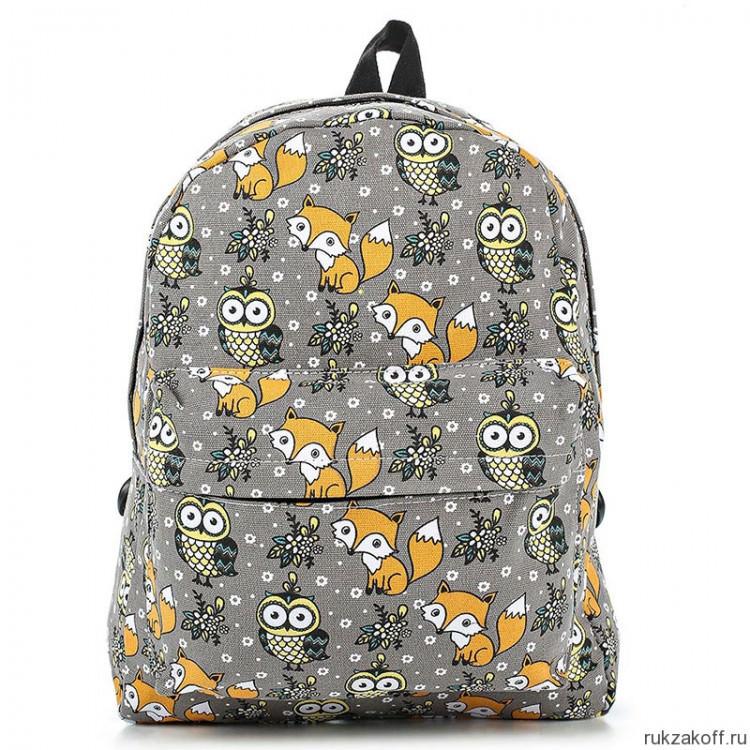 033da26dbc20 Рюкзак с лисами и совами Fox and Owl (серый) купить по цене 1 290 ...