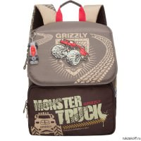 Школьный рюкзак Grizzly Monster Truck Brown Ra-671-1