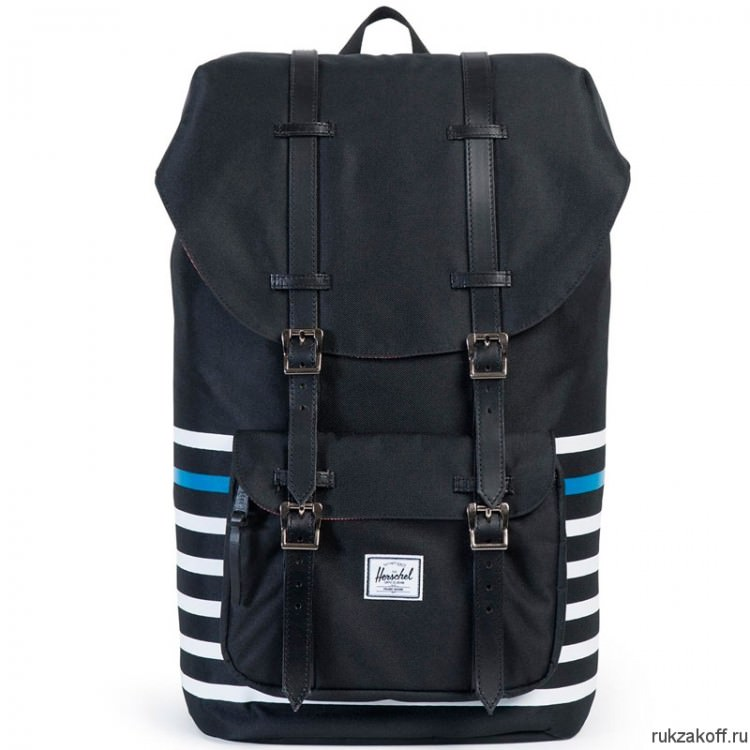 Рюкзак HERSCHEL LITTLE AMERICA BLACK OFFSET STRIPE/BLACK VEGGIE TAN LEATHER